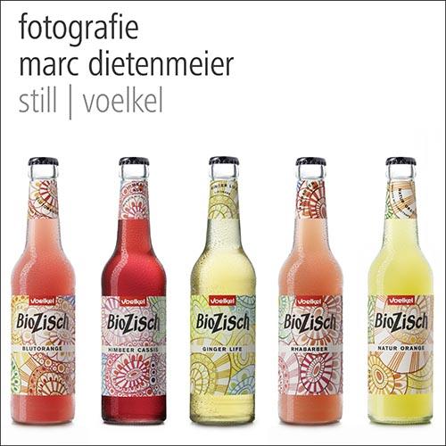 Packshots von Voelkel Getränkeflaschen